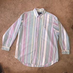 Vintage polo pastel striped dress shirt